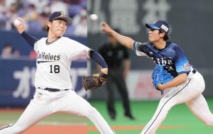 オリックス・山本由伸(左)と西武・今井達也
