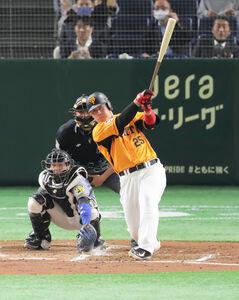 2回無死、岡本和は左中間に2号ソロを放つ(捕手・梅野=カメラ・池内 雅彦)