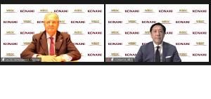 オンライン発表会に出席したWBSCのリカルド・フラッカリ会長(左)とコナミデジタルエンタテインメント代表取締役社長の早川英樹氏