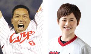 広島県・中四国女子野球アンバサダーに就任することになった浅井樹氏(左)と、野々村聡子監督(本人提供)