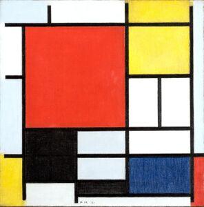 1921年、49歳の時に描いた作品《大きな赤の色面、黄、黒、灰、青色のコンポジション》油彩・カンヴァス