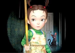 魔女の助手として奮闘するアーヤと黒猫のトーマス(c)2020 NHK, NEP, Studio Ghibli