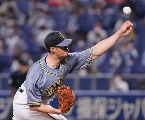力投する阪神先発投手のチェン・ウェイン  (カメラ・馬場 秀則)