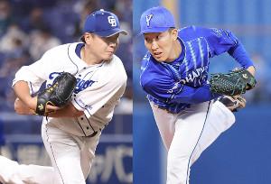 先発の中日・大野雄大(左)とDeNA・大貫晋一