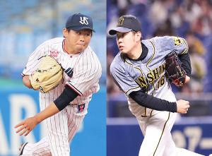 ヤクルト・田口麗斗(左)と阪神・西勇輝