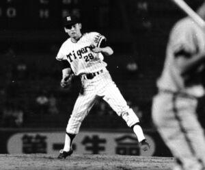 1968年、対広島戦で登板する阪神・江夏豊