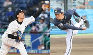 ロッテ・小島和哉(左)とオリックス・増井浩俊