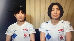 オンラインで取材に応じる吉村紗也香(右)と、小野寺佳歩