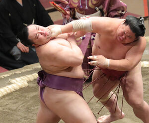 大栄翔(右)の突きをこらえる朝乃山(カメラ・清水 武)