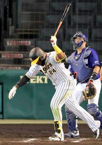 6回2死三塁、右飛に倒れたロハス(カメラ・義村 治子)