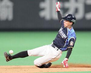 9回無死一塁、二塁盗塁を決める一塁走者の代走・五十幡亮汰