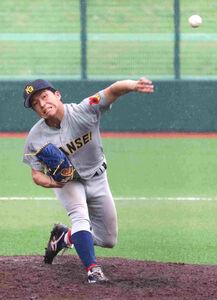 関学大・黒原拓未投手(4年)は3安打無失点で今季2度目の完投勝利