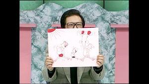 「お笑いマンガ道場」での富永一朗さん(中京テレビ提供)