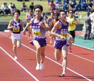 関東インカレ2部5000メートルで日本人トップ争いを繰り広げる駒大・鈴木芽吹(36)と駒大・唐沢拓海(10)