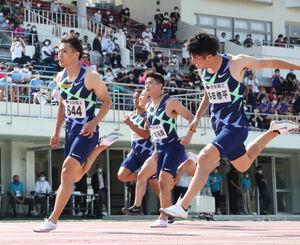 男子100メートル決勝、9秒95の日本新記録で優勝した山県亮太(代表撮影)