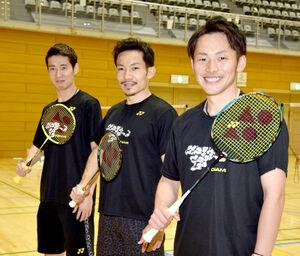 東京五輪へ抱負を語った(左から)常山、園田、嘉村