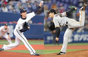 オリックス・山崎福也(左)と巨人・高橋優貴