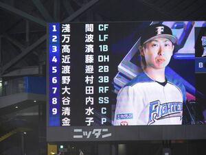 日本ハムの先発が発表された電光掲示板