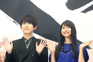 映画「七つの大罪」の完成披露イベントに参加した、梶裕貴と雨宮天