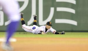 7回無死満塁、柴田竜拓の左飛の打球を好捕する松原聖弥