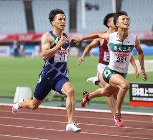 男子100メートル準決勝1組、10秒16で決勝に進んだ山県亮太(左)(カメラ・竜田 卓)