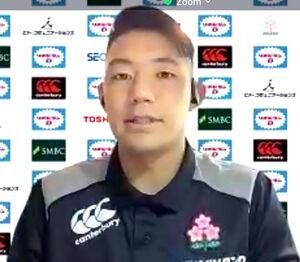 オンライン取材に応じた7人制ラグビー東京五輪日本代表の藤田慶和