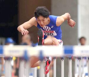13秒06の日本新記録で優勝した順大の泉谷駿介(カメラ・竜田 卓)