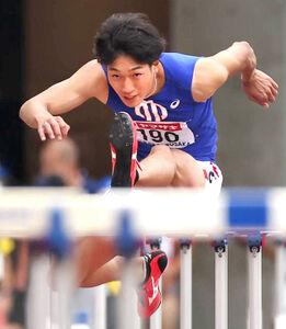 3秒06の日本新記録で優勝した順大の泉谷駿介(カメラ・竜田 卓)