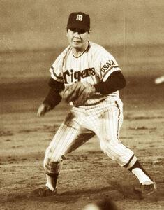 1966年6月8日巨人7回戦で通算1500奪三振を達成した阪神・村山実投手