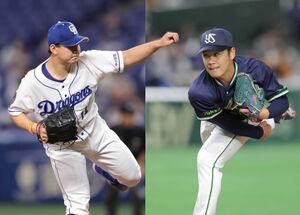 中日・小笠原慎之介(左)とヤクルト・小川泰弘