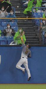 4回無死二塁、村上宗隆の同点二塁打に飛びつく佐藤輝明(カメラ・清水 武)