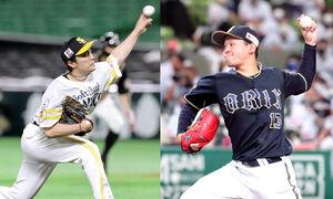 ソフトバンク・和田毅(左)と、オリックス・宮城大弥