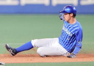 9回2死一塁、打者・佐野恵太のとき一塁走者・森敬斗が盗塁を決める