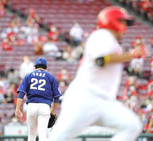 1回2死三塁、松山竜平(右)に適時二塁打された大野雄大