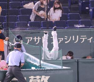 2回無死、小林誠司の一邪飛の打球を追ってカメラマン席に飛び込んだオスナ