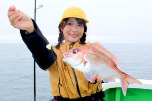 由梨ちゃんが釣り上げた0.7キロ級のマダイ。ピンク色の魚体が美しい(大さん弘漁丸で)