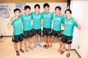 青学大に加入した実力派ルーキーの(左から)若林、太田、白石、田中、鶴川、野村
