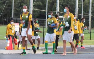 練習を終え、引き揚げる南アフリカ代表
