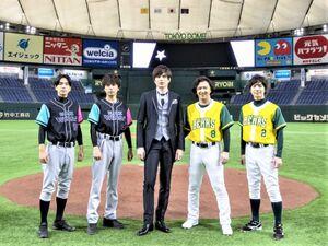 東京ドームで開催された夢のドリームマッチに出場した(左から)黒羽麻璃央、山崎育三郎、城田優、尾上松也、和田琢磨
