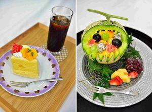 午前のおやつに出された藤井聡太王位の「マンゴーショート」「アイスコーヒー」(左)と豊島将之竜王の「フルーツ盛り合わせ」(写真提供・日本将棋連盟)
