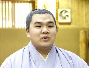 新十両に昇進し、オンライン会見する北青鵬(日本相撲協会提供)