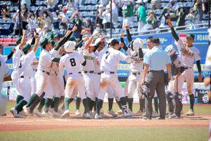 サヨナラ満塁本塁打を放った吉岡(7番)を大喜びで迎える専大松戸ナイン