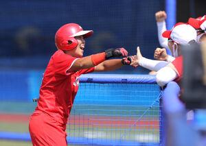 1回2死二塁、山本優の右前適時打で二塁走者・内藤実穂が生還(カメラ・相川 和寛)
