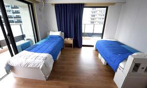 報道陣に公開された東京オリンピック・パラリンピックの選手村居住棟の部屋