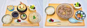 兵庫県神戸市で指された第62期王位戦第3局2日目の昼食に出された、藤井聡太王位の「冷やしうどん膳」(左)と豊島将之竜王の「神戸牛肉うどん膳」(写真提供・日本将棋連盟)