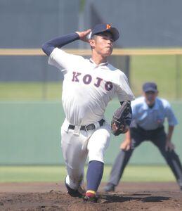 4回途中まで投げ2失点だった向上先発の2年生右腕、佐藤諒音