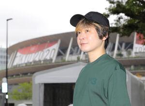国立競技場の前で池江璃花子にエールを送った太志(カメラ・森田 俊弥)