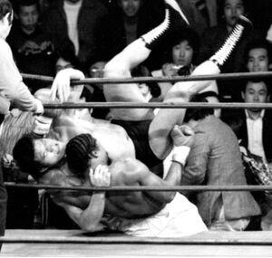 格闘技世界一決定戦で場外に転落するアントニオ猪木(左)とウィリー・ウィリアムス(1980年2月27日、蔵前国技館)
