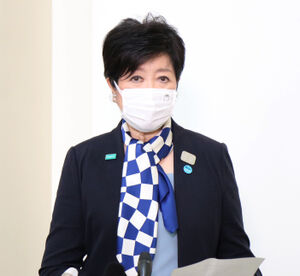 都議会後に記者団の取材に応じる小池百合子知事
