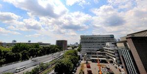 開会式に先駆けブルーインパルスが東京上空に五輪マークを描いた(カメラ・竜田 卓)